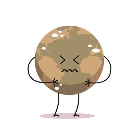 Illustration pour poisoned earth character air pollution cartoon mascot globe personage nature environment danger dirty production save planet concept isolated vector illustration - image libre de droit