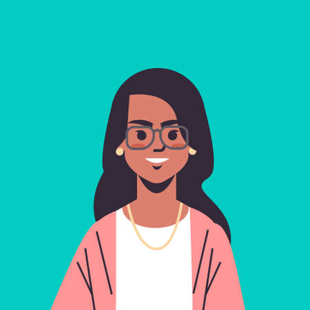 Illustration pour beautiful indian woman wearing glasses looking in camera smiling female cartoon character portrait vector illustration - image libre de droit