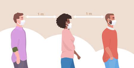Illustration pour mix race people wearing face masks to prevent covid-19 coronavirus men women keeping 1 meter distance social distancing health care concept horizontal portrait vector illustration - image libre de droit