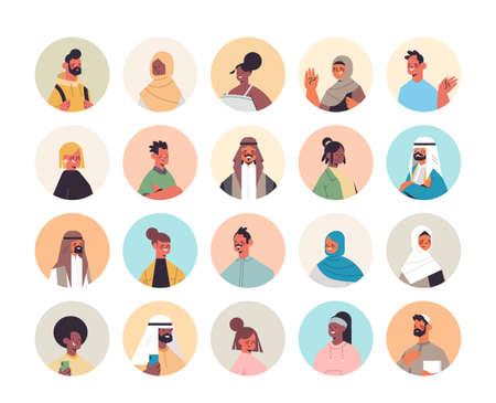 Illustration pour set mix race people avatars men women portraits collection male female cartoon characters - image libre de droit