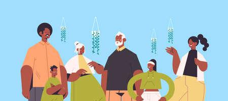 Illustration pour multi generation african american family happy grandparents parents and children standing together - image libre de droit
