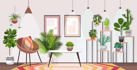 Illustration pour modern living room interior home apartment with houseplants - image libre de droit