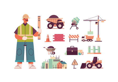 Illustration for set engineering tools icons and engineer in uniform holding level construction of buildings concept - Royalty Free Image