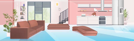 Illustration pour contemporaty house with living room and open kitchen empty no people apartment interior - image libre de droit