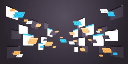 Illustration pour folders mail envelopes cloud internet data file icon documents browser window horizontal - image libre de droit