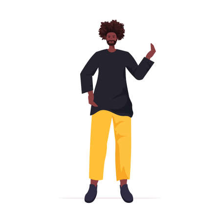 Illustration pour young man in casual trendy clothes male cartoon character standing pose full length vector illustration - image libre de droit