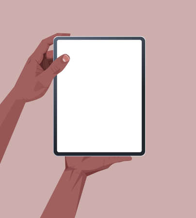 Illustration pour african american human hands holding tablet pc with blank touch screen using digital device concept isolated - image libre de droit