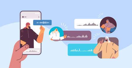 Illustration pour Arabic people communicating in instant messengers by voice messages audio chat application online communication - image libre de droit