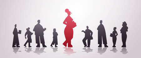 Illustration for red businesswoman leader silhouette standing in front of businesspeople leadership business competition - Royalty Free Image