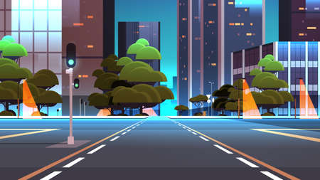 Illustration for empty night street road with crossroad and traffic lights city buildings skyline modern architecture cityscape background - Royalty Free Image