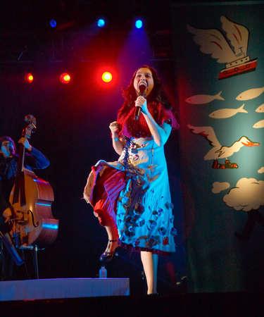 CALDAS DA RAINHA, PORTUGAL - MAY 14: Deolinda performing on stage in Caldas da Rainha day May 14, 2010 in  Caldas da Rainha , Portugal