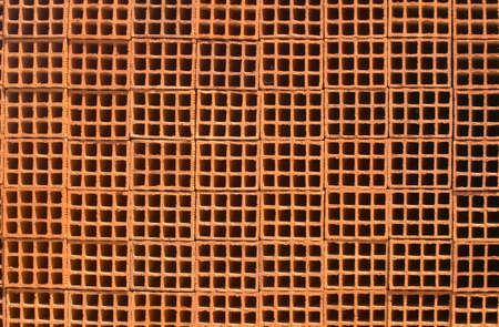 closeup of perforated clay brick