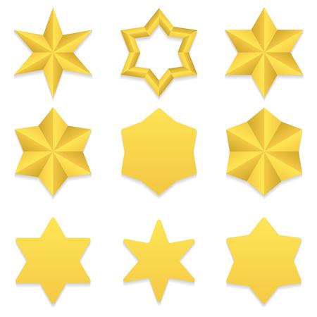 Illustration pour Set of nine different golden six point stars. - image libre de droit