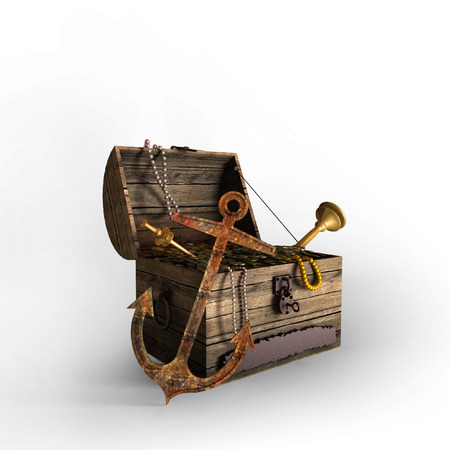 3D old treasure chest filled with coins, necklaces, jewellery with anchor in front on white background