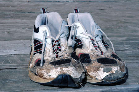 worn and tired running shoes
