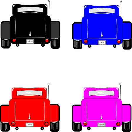 hot rod cars rear view on white