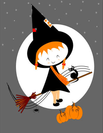 lil witch on broom stick