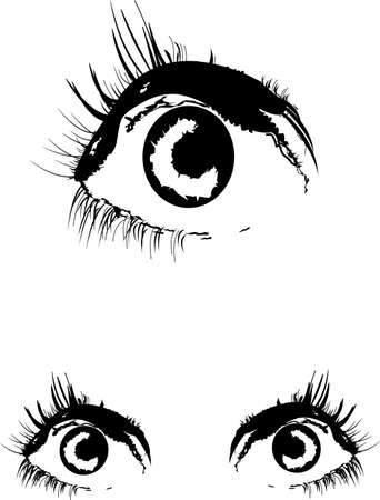 eyes in two styles over white vector