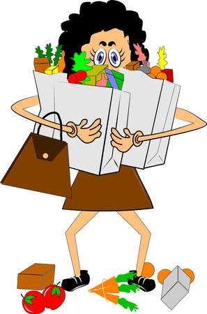 Illustration for woman carrying lots of groceries - Royalty Free Image