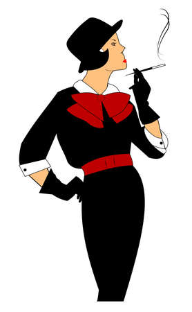 retro lady smoking a cigarette with holder