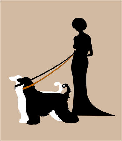 lady in gown with her two afghans on leads silhouette