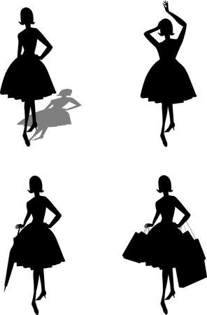 ladies in silhouette with assorted objects