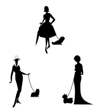 elegant ladies with their dogs in silhouette