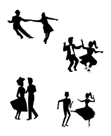 retro dancing teens in silhouette