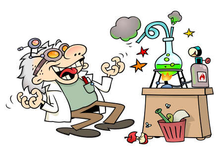 Mad scientist laughing insanely by his laboratory desk