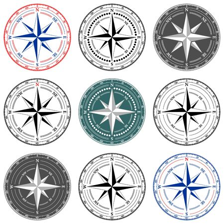 Dial Compass Set with Windrose. 9 vector illustrations