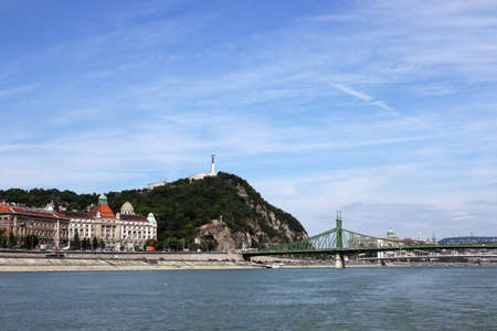 Liberty bridge and Gellert hill Budapest cityscape Hungary