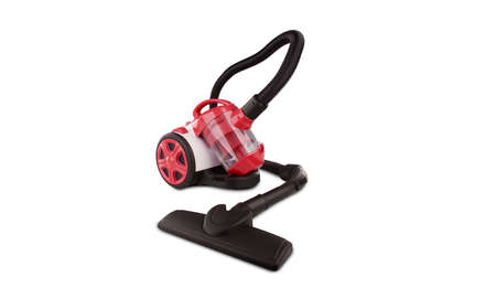 Red vacuum cleaner isolated on white