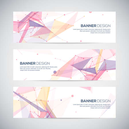 Vector banners set with polygonal abstract shapes, with circles, lines, trianglesのイラスト素材