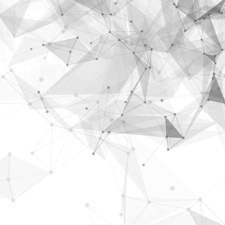 Abstract low poly white bright technology vector background. Connection structure. Vector data science background. Polygonal vector background.のイラスト素材