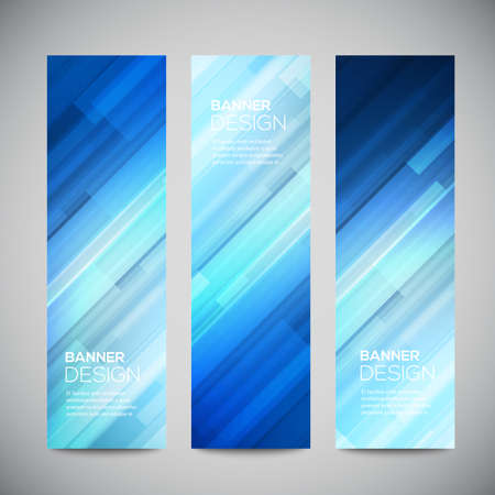 Foto de Blue low poly vector vertical banners set with polygonal abstract lines. Abstract vector polygonal bright background. Vector web buttons. - Imagen libre de derechos