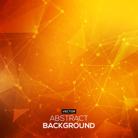 Abstract polygonal orange red low poly background with connecting dots and lines. Connection structure. Vector science background. Polygonal vector background.