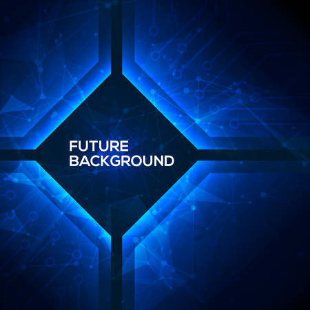 Illustration for Deep blue geomepric abstract technology background. Vector - Royalty Free Image