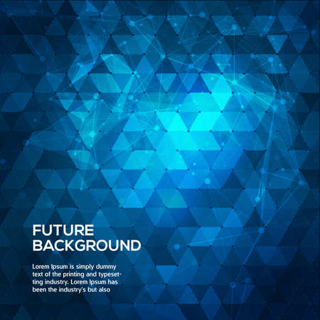 Abstract blue background with triangles. Abstract polygonal space low poly dark background with connecting dots and lines. Polygonal vector background. Futuristic HUD background. Vector