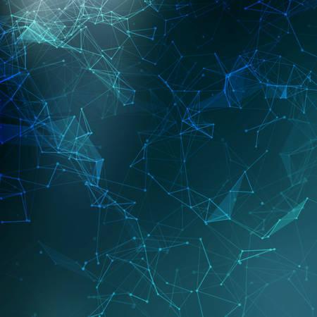 Illustration pour Abstract low poly blue bright technology vector background.  - image libre de droit