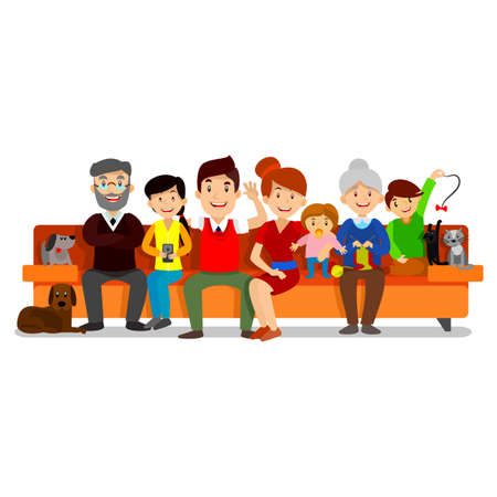 Big Happy Family sit on sofa. Parents with Children. Father, mother, children, grandpa, grandma, dog and cat Vector
