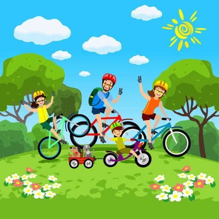 Illustration pour Family with kids concept of cycling in the park. Happy family riding bikes. The family in the park on bicycles. Vector - image libre de droit