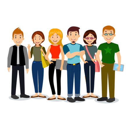 Illustration pour Set of diverse college or university students. Vector group of students. Cartoon vector illustration of students. - image libre de droit