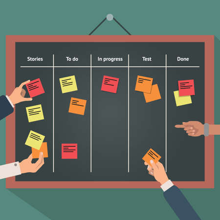 Illustration pour Illustration of scrum agile board with flat hand and stickers. - image libre de droit