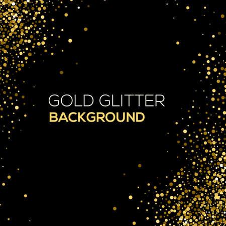 Ilustración de Gold confetti glitter on black background. Abstract gold dust glitter background. Golden explosion of confetti. Golden grainy abstract background - Imagen libre de derechos