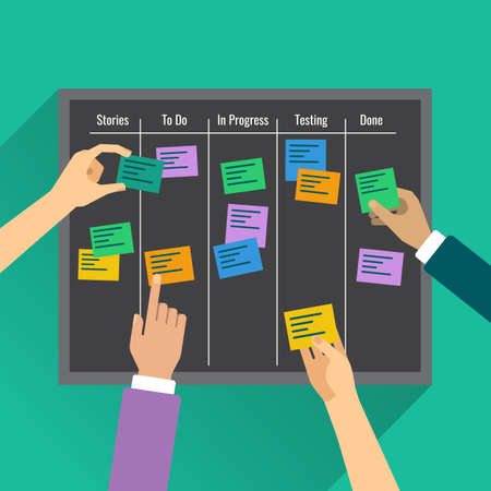 Illustration pour Agility is reached by effective task management with the help of the board, colorful vertor flat illustration - image libre de droit