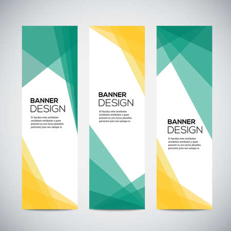 Banners with abstract colorful geometric pattern and background. Vector illustration.