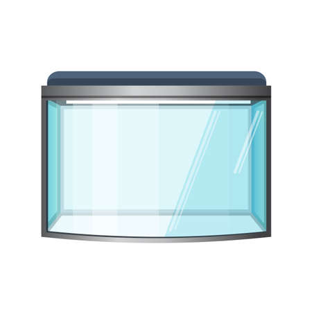 Illustration pour Aquarium vector isolated on white. Fish tank, front view. Vivarium with transparent sides in which water-dwelling plants or animals are kept and displayed. Terrarium. Vector illustration - image libre de droit