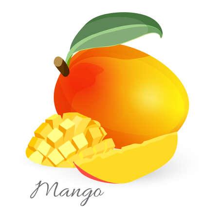Illustration pour Exotic mango tropical fruit with green leaf sliced and whole - image libre de droit