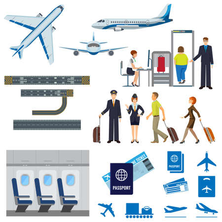 Illustration for Vector flying passenger aircrafts, plane, check-in, pilot and stewardess - Royalty Free Image