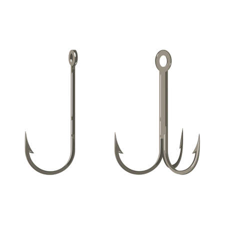 Two Fishing Hooks Icon Fisherman Equipment Sign